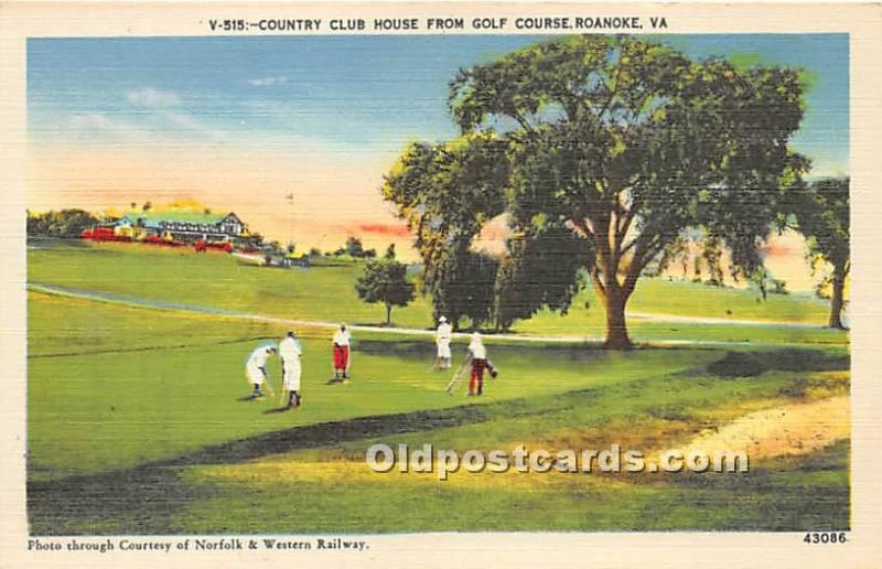 Old Vintage Golf Postcard Post Card Golf Postcard Country Club House from Gol...