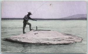 1910s Yellowstone National Park Postcard Larry the Guide Fishing in Hot Springs