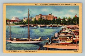 St Petersburg FL, Yacht Basin, Soreno Hotel, Yacht Club, Linen Florida Postcard