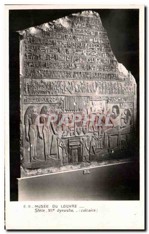 Old Postcard Musee Du Louvre Stele XIIth Dynasty Egypt Egypt