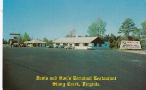 STONEY CREEK , Virginia, 50-60s ; Davis & Son's Terminal Restaurant