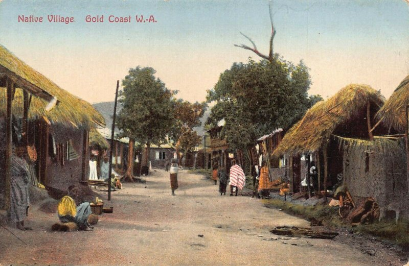 Ghana Gold Coast Native Village Postcard