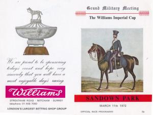 1972 Williams Imperial Cup Sandown Park Military Horse Race Programme