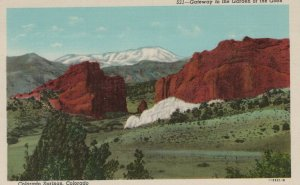 Gateway To The Garden Of The Gods Colorado Springs CO Vintage Linen Post Card