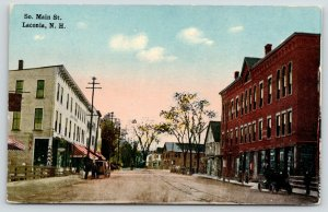 Laconia New Hampshire~South Main Street~Businesses Each Side~Store Awnings~c1910