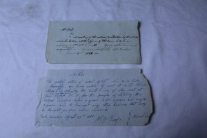 Lot of 2 Vintage 1838 & 1854 School District Meeting Notices 1 Notarized