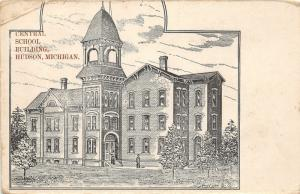 F14/ Hudson Michigan Postcard c1910 Central School  Sketch