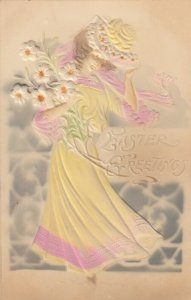 Embossed Easter woman carrying Flowers , 00-10s
