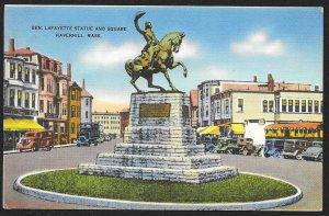 Lafayette Statue & Square Haverhill Massachusetts Unused c1940s