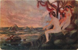 Early art postcard nude in paintings : V.A. Ribano - Mermaid harp
