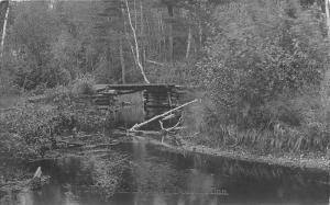 Dorset Minnesota~Fishermans Lodge~Rustic Log Bridge on Stream~c1910 RPPC