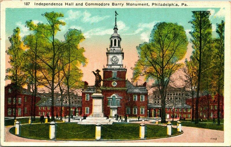 Vtg Postkarte Philadelphia Pennsylvania Pa Unabhängigkeit Flur Barry Denkmal Unp