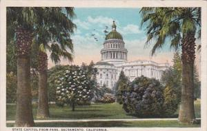 California Sacramento State Capitol From Park 1924 Curteich