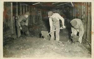 C-1910 Occupation Worker Interior Shovel RPPC Photo Postcard 4363