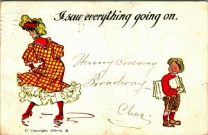 Comic I Saw Everything Going On ANKLES EXPOSED! 1905 UDB Postcard