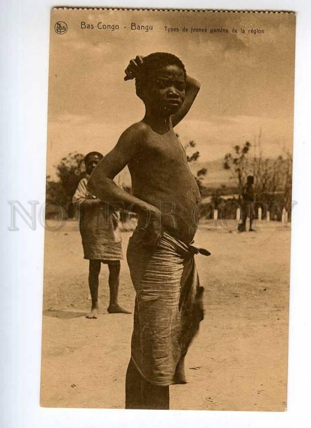 247410 Bas Congo Bangu Semi-Nude Young Black Boy Vintage -4031