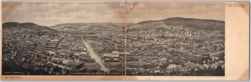 1900s BRADFORD PA Folding Panorama Postcard Greetings from OIL COUNTRY Taped