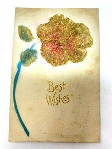 Heavily glittered embossed mica glitter postcard c1915 Best Wishes