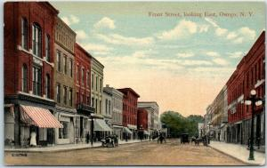 1910s Owego, New York Postcard FRONT STREET, Looking East Downtown Unused