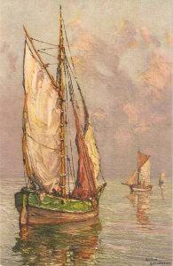 lFishing boats   Nice vintqage Swiss PC. Artist signed