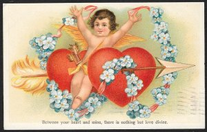 Valentine Cupid Violets Arrow Through Two Hearts Used c1907