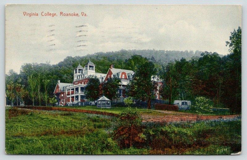 Roanoke VA~Virginia College Campus Building~Garden Gazebo~Split Rail Fence~1914