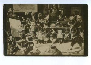 175957 SCHOOL Dogs MAP of HUNDELAND Spitz etc Vintage PC