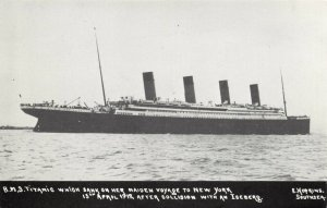 Postcard RMS Titanic between Southsea & Isle of Wight, Sank 15th April 1912 CA9