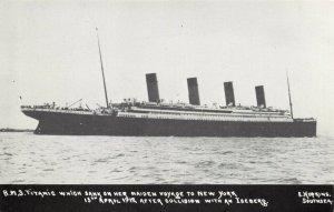 Postcard RMS Titanic between Southsea & Isle of Wight, Sank 15th April 1912 CA9