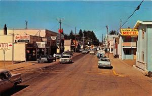 Ilwaco Washington~Street Scene~76 Gas~Captain Mikes Motel~Ford Mustang~1960s PC