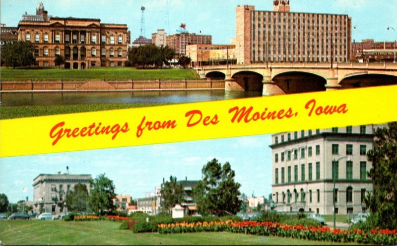 Iowa Des Moines Greetings Showing City Library Y M C A Municipal and Federal ...