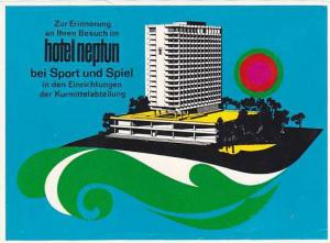 GERMANY WARNEMUENDE HOTEL NEPTUN VINTAGE LUGGAGE LABEL