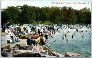 Cleveland, Ohio Postcard Bathing Scene, Gordon Park Canoes c1910s UNUSED