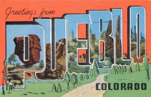 Greetings from Pueblo CO, Colorado - Linen Large Letter