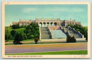 Cincinnati Ohio~Ault Park Shelter House~Tall Steps up to Building~1940s Postcard