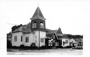 Onawa Iowa~First Congregational Church & Neighbors~1960s Car~Postcard RPPC