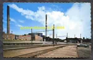 4004 - ROUYN-NORANDA 1960s Mine & Admin Building Postcard. Railway Platform