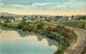 Birdseye View C-1910 Railroad Harmony Pennsylvania Robbins postcard 10470