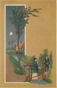 Victorian Seasons Series~Rectangle Panorama~Couple In Fall~Moonlight~EMB Germany