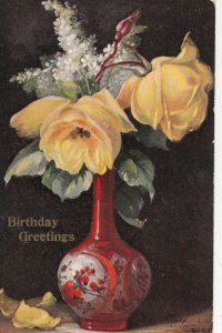 AS: MARY GOLAY, 1900-10s; Birthday Greetings, Vase with yellow roses
