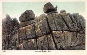 Logan Rock, Penzance, England, Early Postcard, Unused