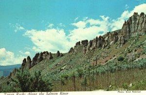 Vintage Postcard Typical Historic Tower Rocks Along The Salmon River Idaho ID