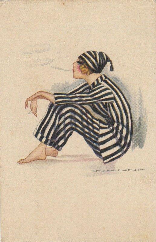 Woman portrait , 1900-10s ; #40A ; Artist Signed NANNI