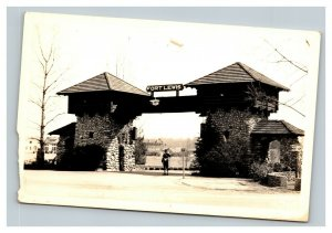 Vintage 1946 RPPC Postcard Fort Lewis Gate McChord Washington Blimp Above
