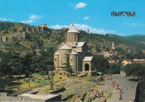 View of Old Tbilisi, Metekhi Cathedral, Ruins of Ancient Citadel Narikala, Tb...