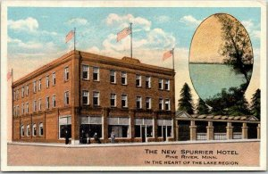 Pine River, Minnesota Postcard THE NEW SPURRIER HOTEL Street View c1920s Card