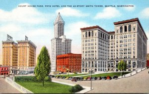 Washington Seattle Court House Square Showing Frye Hotel and 42 Story Smith T...