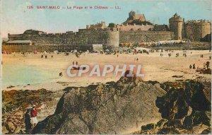 Postcard Old Saint Malo Beach and Chateau