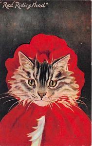 Cat Post Card Old Vintage Antique Red Riding Hood Unused