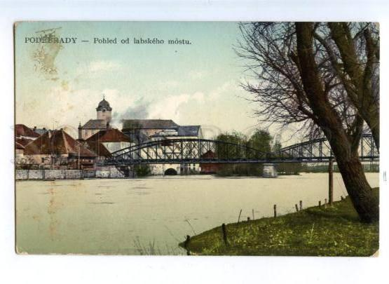 172279 CZECH Podebrady View from Elbe bridge Vintage postcard